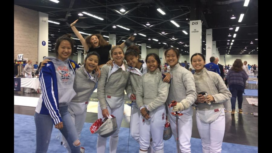 Jenny Song (middle) stands with her Laguna Fencing Center teammates after the North American Cup (NAC) in October 2017 where Song was ranked the Division 2 national champion. In between matches, it is common for Song and her teammates to spend time with each other.