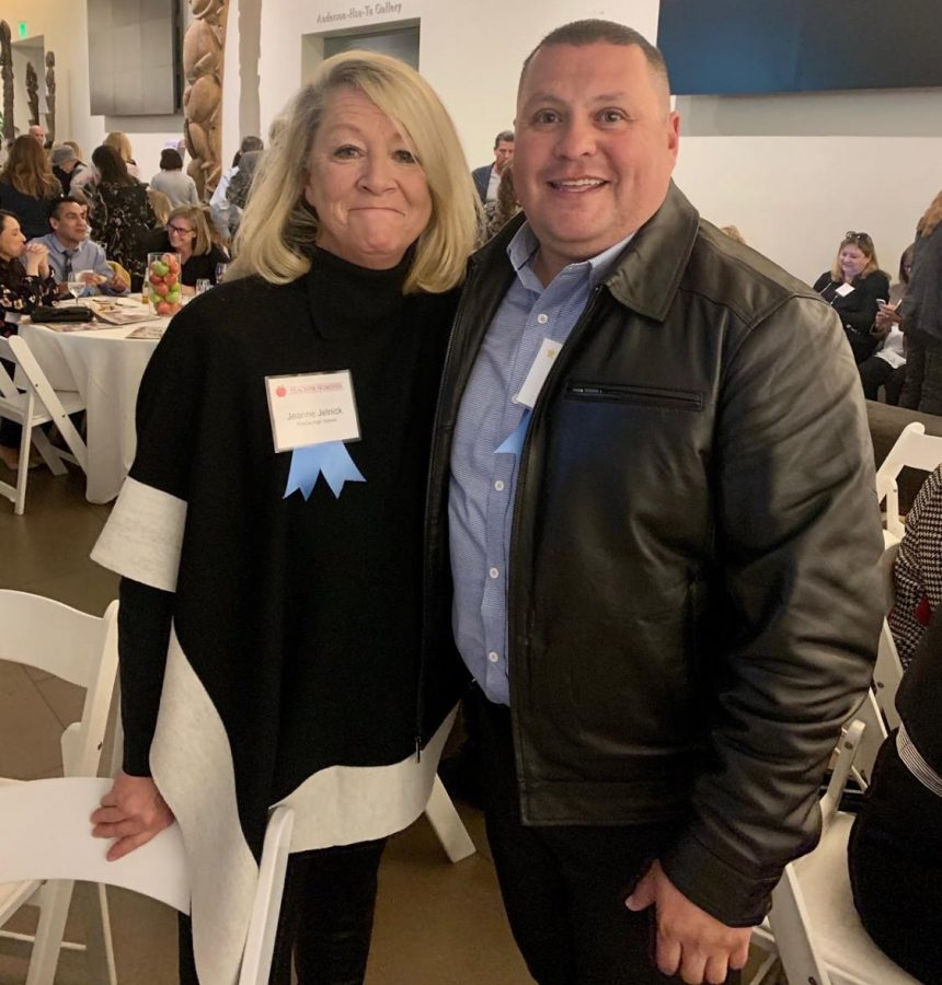 Plant supervisor Leo Diego and literary and language arts teacher Jeanne Jelnick attended the seventh annual Parenting OC Top Teachers & Top School Employees of Orange County award ceremony. Principal John Pehrson nominated both of them by writing and sending a recommendation letter last October.