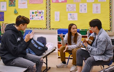 Juniors Eric Hao and Rachel Abalos and senior Joseph Kim didn't realize they had ten minutes to perform their two minute song. An hour before it started, they decided to sing a mashup of
