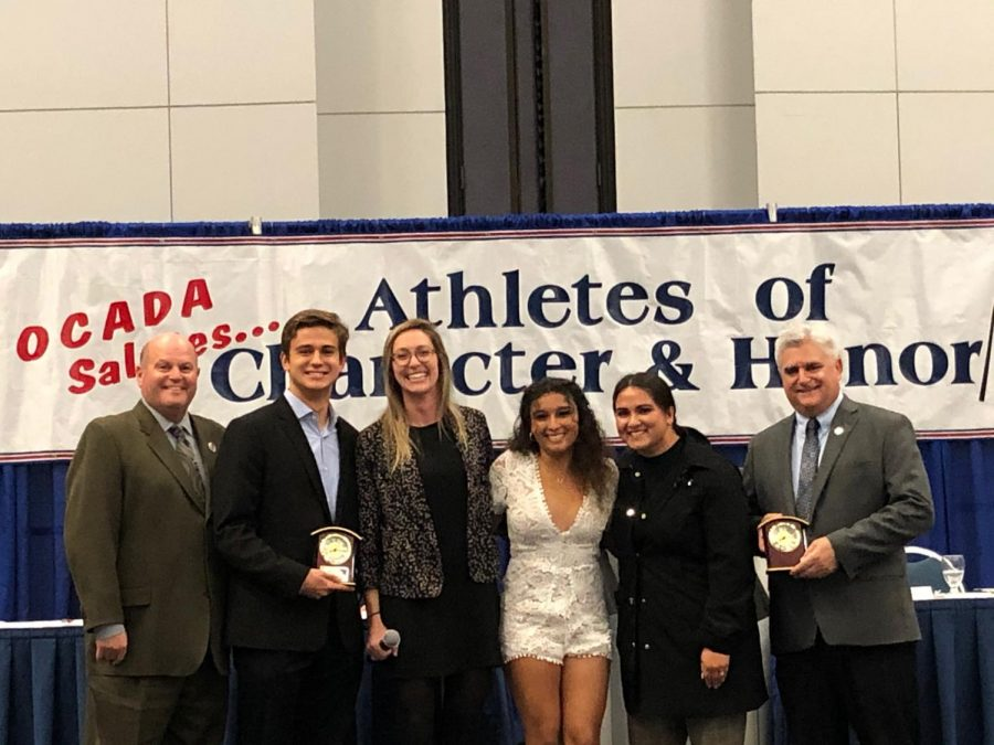 CIF Athletics Commissioner Rob Wigod, water polo coach Kate Avery and cheer coach Allison Leyva, joined seniors Dylan Gates (second from the left) and Alexandra Beltran (fourth from the left) on stage at the banquet as the athletes were recognized for their leadership and community-service qualities.