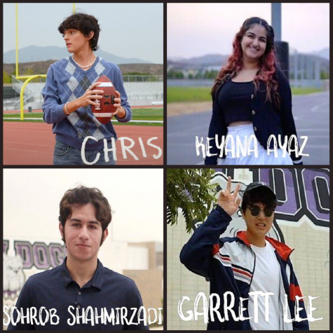 Junior Christopher Stocks, junior Keyana Ayaz, senior Sohrob Shahmirzadi and junior Garrett Lee join the Portola News Network reporting team for the 2020-21 school year.