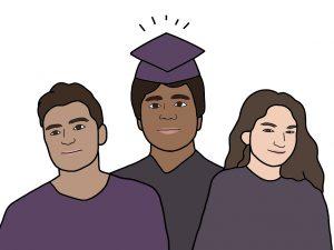 Among the alumni attending four-year universities this school year are freshman Kiyan Dhanidina (left), freshman Nishad Francis (middle) and sophomore Liz Moerman (right).