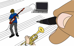 In order to prevent the spread of COVID-19, of which playing wind instruments is known to be a superspreader, students are instead learning about musical composition. Though it may be a challenge, students are still able to harness their creativity while becoming familiar with new softwares.