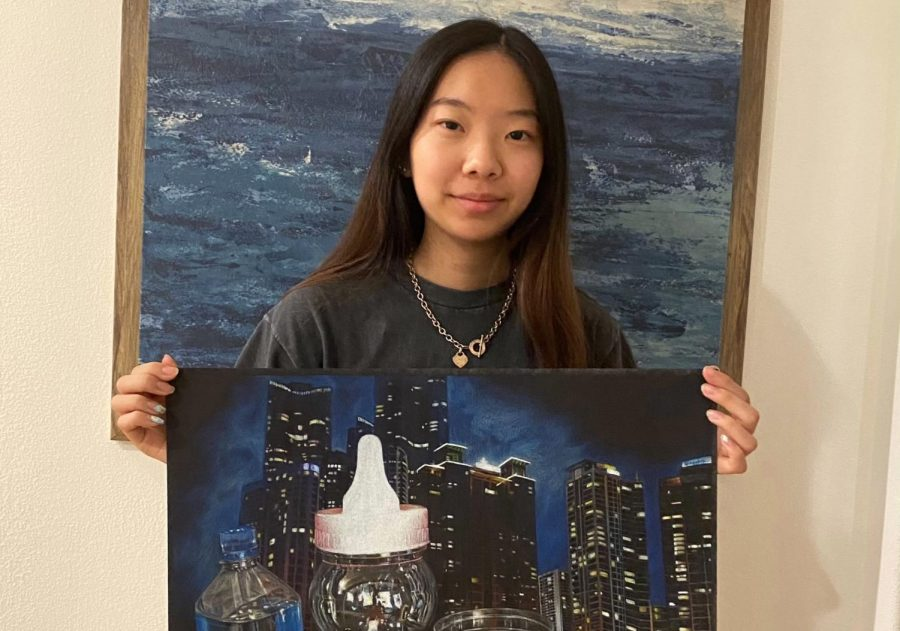 "I tend to fill the paper a lot. Instead of just focusing on one main part, I like adding a lot of details and filling up the composition,"" senior Grace Hong said."