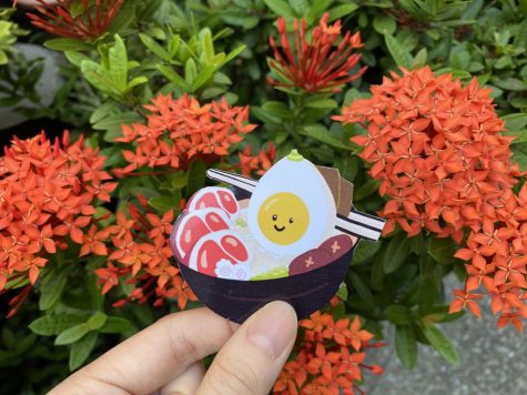 This is one of the stickers that Liang sells depicting a personified ramen bowl.