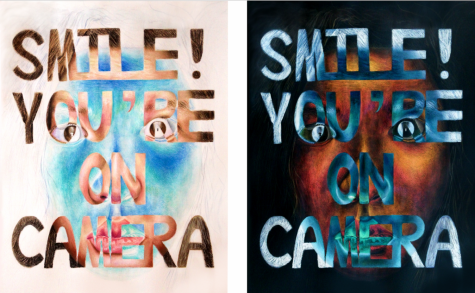 """Drawn by AP Studio Art: Drawing student and senior Natalie Yu, this piece is titled """"Smile! You're on Camera,"""" which is the phrase that Yu explores in her art. Through her use of inverted images and a self-portrait, Yu captures the message that being on camera is something she fears rather than smiles for."""