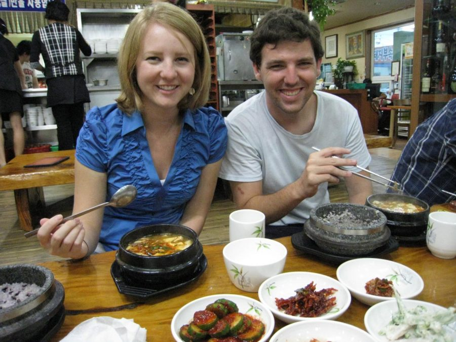 "Pictured in September 2010, Madeline and her husband Jason Greenwood eat sundubu-jjigae at her favorite restaurant in Wonju, South Korea. Greenwood keeps in touch with some of her Korean co-workers and students she worked with while she was an ESL teacher at a middle school. ""I"