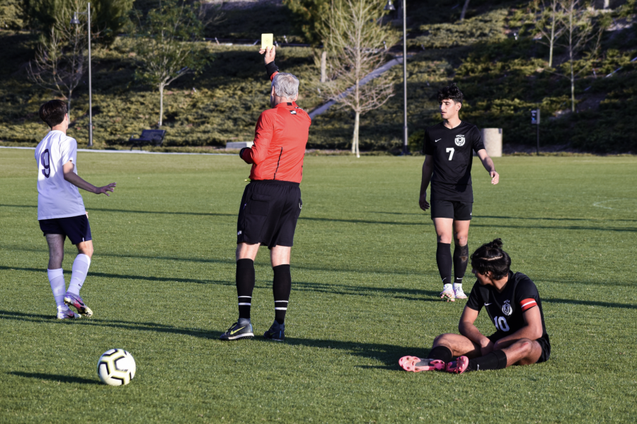 The referee gave out a total of two yellow cards during the game to different players from Portola High. Yellow cards are typically used when a player exhibits aggressive behavior whether it was accidental or on purpose. A player who receives two yellow cards will be dismissed from the game.