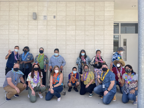 """Special education students and staff members dress up for the Hawaii CBI event by wearing leis and hawaiian shirts. During the CBI activity, they answer like, """"What would you eat in Hawaii?"""""""