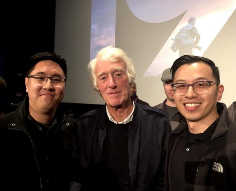 """On the right, science teacher Michael Tang stands next to two-time Oscar-winning cinematographer Roger Deakins, with friend and fellow movie buff Paul Hsu on the left at a premiere for the 2019 film """"1917."""" Deakins won Oscars for Blade Runner 2049 and 1917 and is one of Tangs favorite cinematographers."""