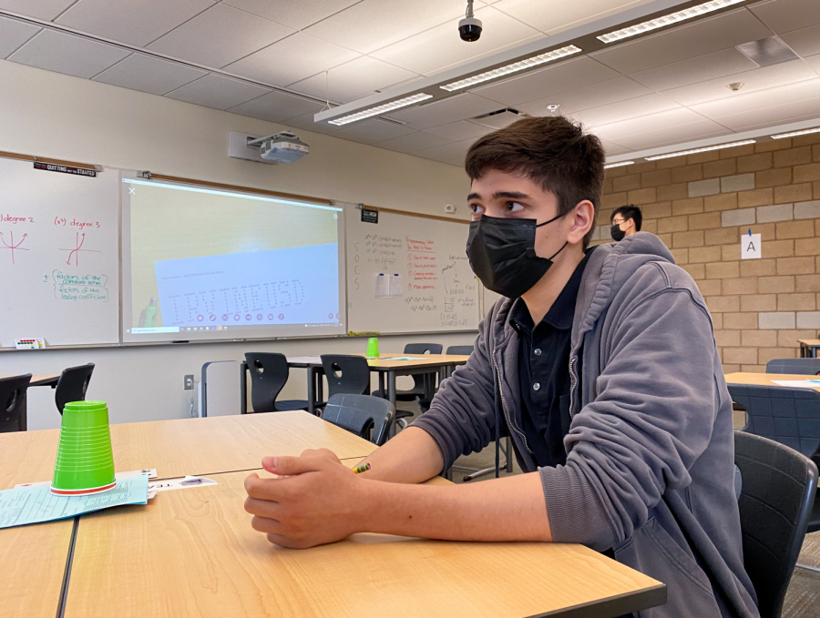 Junior Jack Lipson waits for his sixth-period AP Statistics class to begin. In eighth grade, Lipson mastered calculus and is now studying elementary analysis at University of California, Irvine.